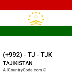 Tajikistan Country and phone Codes : +992, TJ, TJK