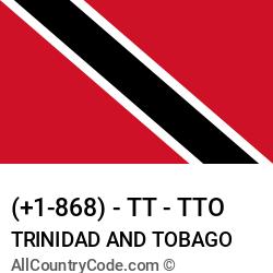 Trinidad and Tobago Country and phone Codes : +1-868, TT, TTO