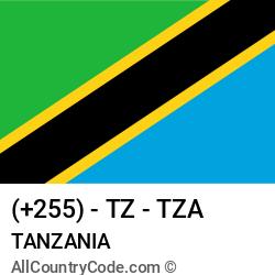 Tanzania Country and phone Codes : +255, TZ, TZA