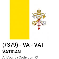 Vatican Country and phone Codes : +379, VA, VAT