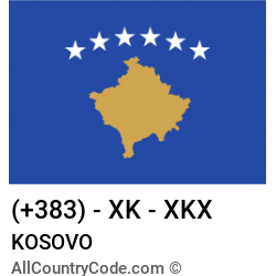Kosovo Country and phone Codes : +383, XK, XKX