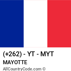 Mayotte Country and phone Codes : +262, YT, MYT