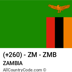 Zambia Country and phone Codes : +260, ZM, ZMB