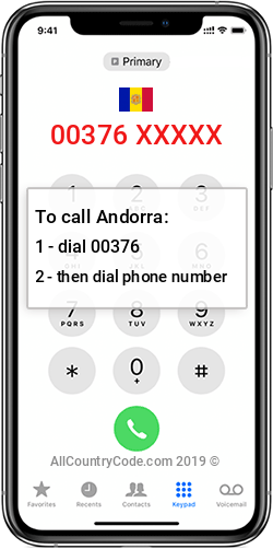 Andorra 376 Country Code AD AND