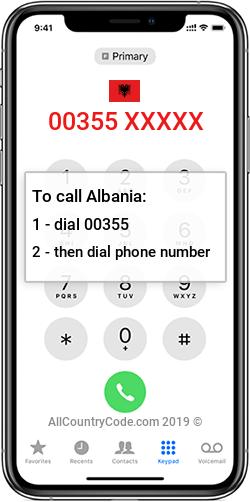 Albania 355 Country Code AL ALB