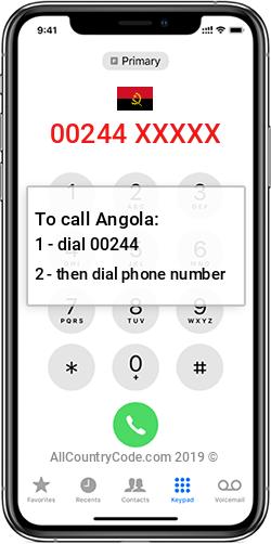 Angola 244 Country Code AO AGO