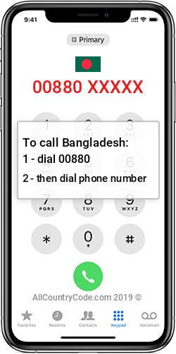 Bangladesh 880 Country Code BD BGD
