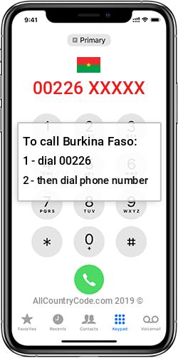 Burkina Faso 226 Country Code BF BFA