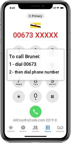 Brunei 673 Country Code BN BRN