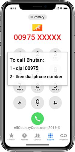 Bhutan 975 Country Code BT BTN