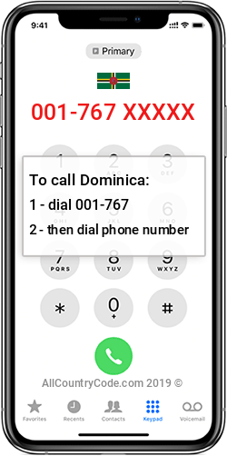 Dominica 1-767 Country Code DM DMA