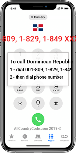 Dominican Republic 1-809, 1-829, 1-849 Country Code DO DOM