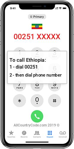 Ethiopia 251 Country Code ET ETH