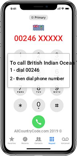 British Indian Ocean Territory 246 Country Code IO IOT