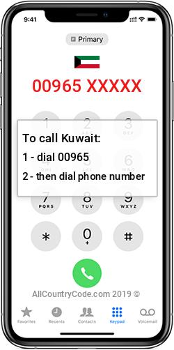 Kuwait 965 Country Code KW KWT