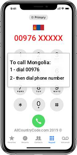 Mongolia 976 Country Code MN MNG