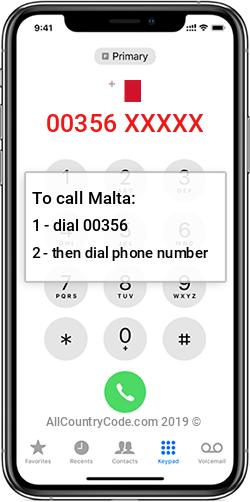Malta 356 Country Code MT MLT
