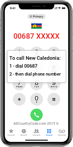 New Caledonia 687 Country Code NC NCL