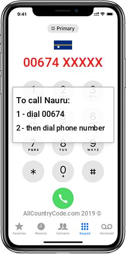 Nauru 674 Country Code NR NRU