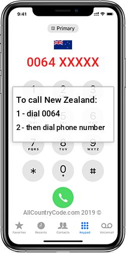 New Zealand 64 Country Code NZ NZL