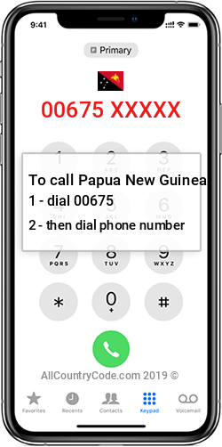 Papua New Guinea 675 Country Code PG PNG