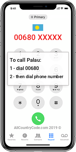 Palau 680 Country Code PW PLW