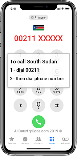 South Sudan 211 Country Code SS SSD