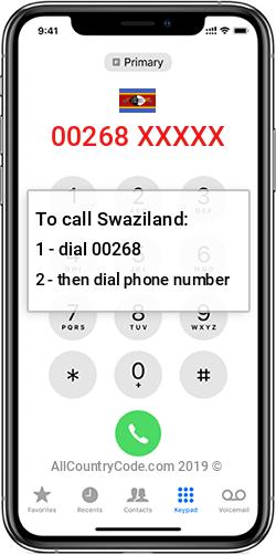 Swaziland 268 Country Code SZ SWZ
