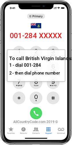 British Virgin Islands 1-284 Country Code VG VGB