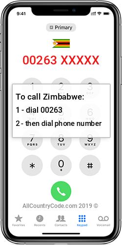 Zimbabwe 263 Country Code ZW ZWE